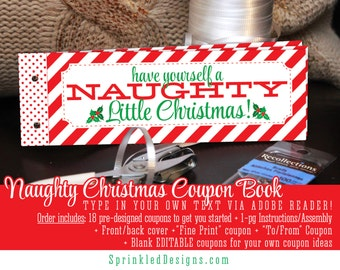 Christmas Gifts For Him Her - Naughty Coupon Book Printable - Stocking Stuffer Wife Husband Boyfriend Girlfriend Gift Ideas for Men