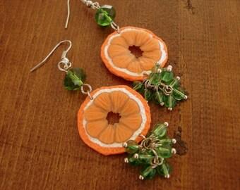 Polymer Clay Jewelry Orange Dangle Earrings Handmade