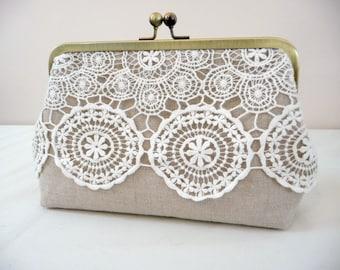 SALE! Vintage Style Lace Bridal Clutch, Rustic Wedding Clutch, Linen Lace Purse, Elegant Purse, Eight Inch Frame Clutch