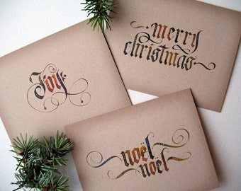 Boxed Christmas Cards | Rustic Christmas Cards | A4 Christmas Card Pack | Calligraphy Cards | Recycled Christmas Card | Multipack