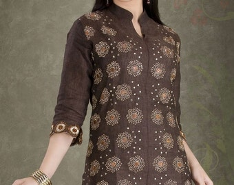 Brownish Cotton Embroidery Tunic For Womens/ Ladies