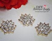 Small Gold Rhinestone Buttons Crystal Button Flat Back Embellishment Metal - Headband Supplies - flower centers - Scrapbooking 18mm 812038