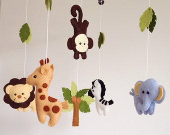 Baby Mobile, Crib Baby Mobile, Nursery Decor, Safari Baby Mobile, Felt mobile