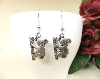 Silver Koala Earrings, Animal Earrings, Simple Earrings, Small Silver Earrings, Australian Earrings, Girls Gift, Koala, Animal Jewellery