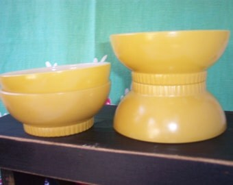 Fire King – Anchor Hocking Glassware – Cereal Bowl – Milk Glass and Yellow – Ribbed Footed Base