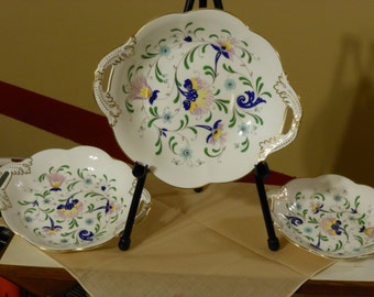 Set of Three Nested Coalport Fine Bone China Serving Dishes Pageant Pattern