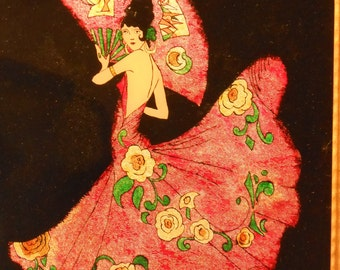 Lovely Senorita in Pink with Fan Reverse Painted Picture with Foil