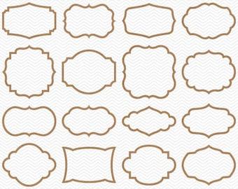 Digital Kraft Border Clipart - Brown Kraft Paper Frames Clip Art - Cardboard Frame Shape Outlines - Rustic Digital Frame Embellishments