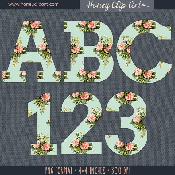 Pink And Mint Floral Alphabet Clipart Pink Rose Letter Clip