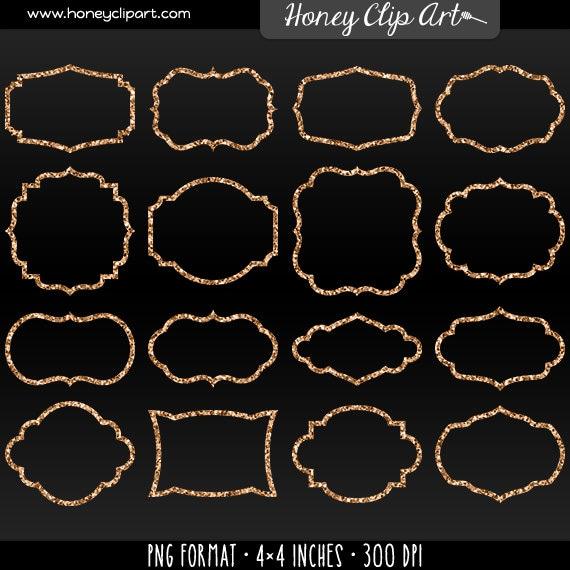 digital rose gold frame clip art rose gold glitter clipart fancy sparkly border shapes