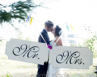 Mr. Mrs. Thank You -  Wedding Signs Reusable STENCILS- set of 4 - Create your own Wedding Signs and save money!