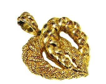 GUY LAROCHE, elegant gold vintage metal heart pendant