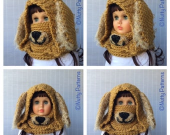 Crochet Patterns * Dog Hooded Cowl * Instant Download Pattern # 485 * baby toddler child teen adult sizes * super bulky yarn * easy