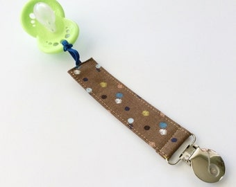 Pacifier Clip - Dotted Taupe
