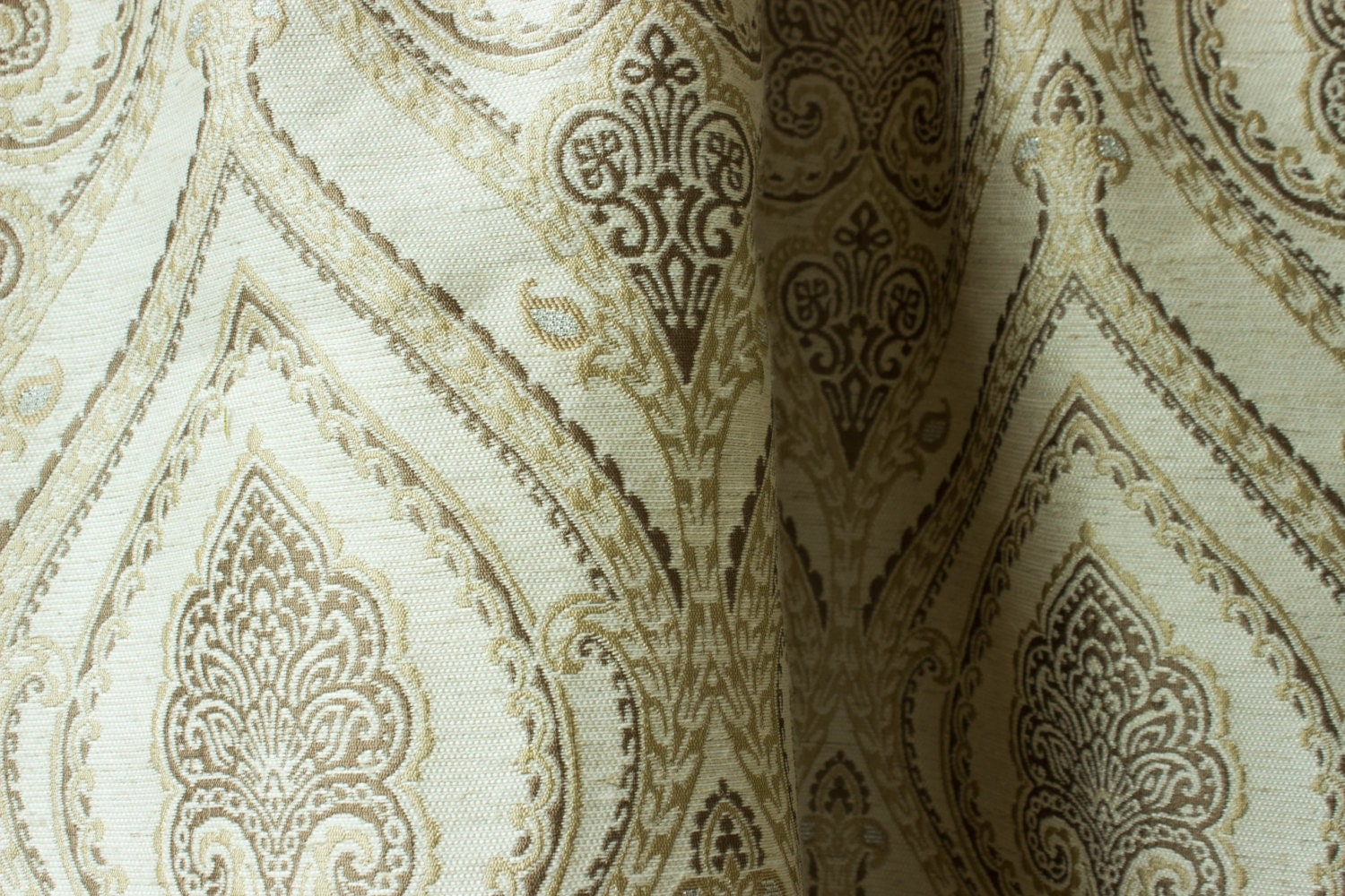 Moroccan curtains white - Gold Beige Damask Pair Of Curtain Panels 50 White By Fabricasia