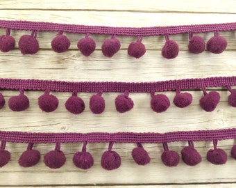 Purple Pompom Trim / Pom Pom Trim / Cotton Pompoms / 100cm Pompoms Trim