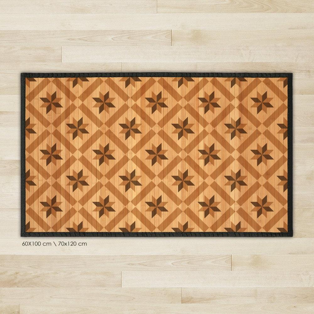 Printed Bamboo Area Rug Bamboo Carpet Wood Tile Pattern