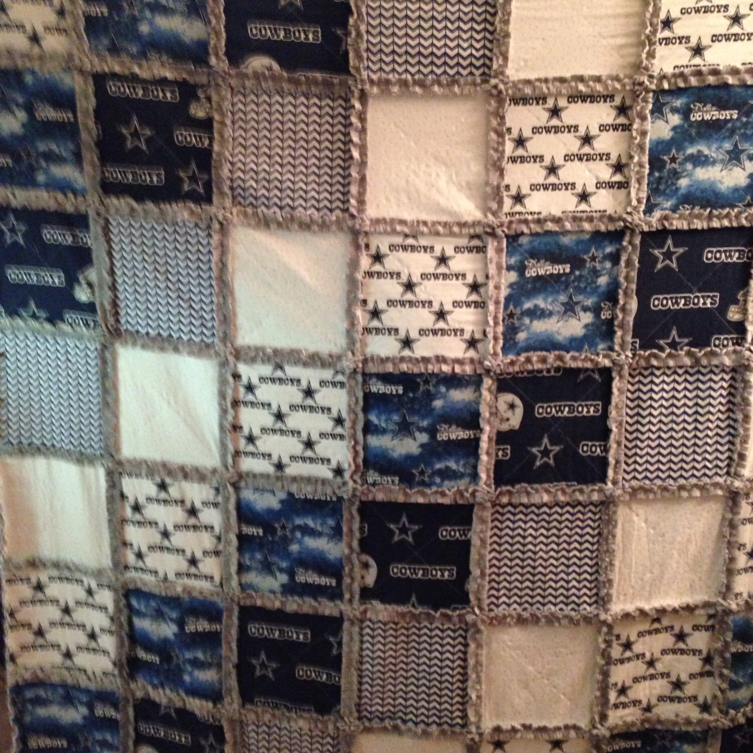 dallas cowboys rag quilt with cotton and soft minky large
