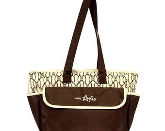 91943-GORGEOUS ANTIQUE;PRINT brown & beige diaper bag