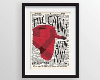 The Catcher in the Rye by J. D. Salinger - Cover Art on Recycled Dictionary Page
