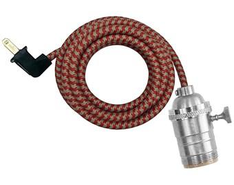 SATIN NICKEL LAMP w/ turn-knob socket