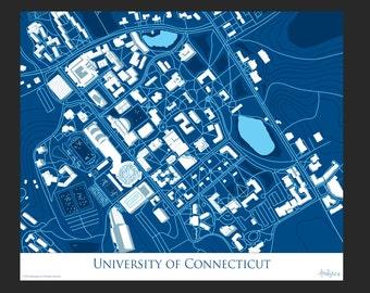 UConn Map Art | University of Connecticut | Storrs, CT Map | UConn Huskies | UConn Graduation Announcement | UConn Sports | Gampel Pavilion