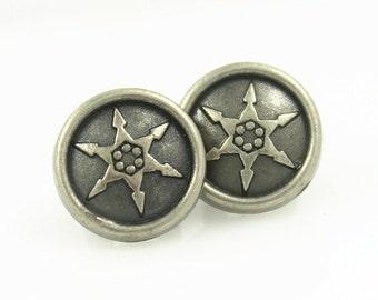 Metal Buttons - Hexagonal Star Pattern Nickel Silver Long Shank Metal Buttons - 10mm - 3/8 inch - 6 pcs