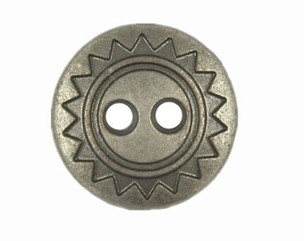 Metal Buttons - ZIG-ZAG Metal Hole Buttons in Nickel Silver Color - 13mm - 1/2 inch - 6 pcs