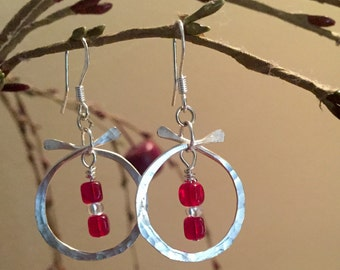 Asian jewelry inspired hammered silver earrings with Czech red beads