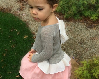 Girls Grey Slouch Shirt with Bow on Back.