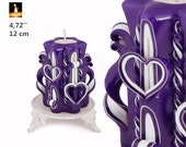 Purple candle, Carved candles, decorative candles, Two hearts small candle, BESTSELLER