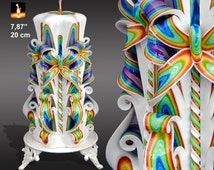Birthday gift, Candles, Candle, Carved Candle, Large candle, Rainbow candle, BESTSELLER