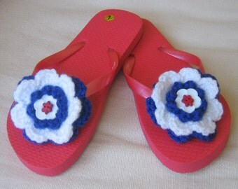 Handmade Crochet Embellished Flip Flops for Girls