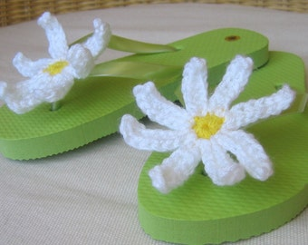 One of a Kind Crochet Embellished Flip Flops for Girls