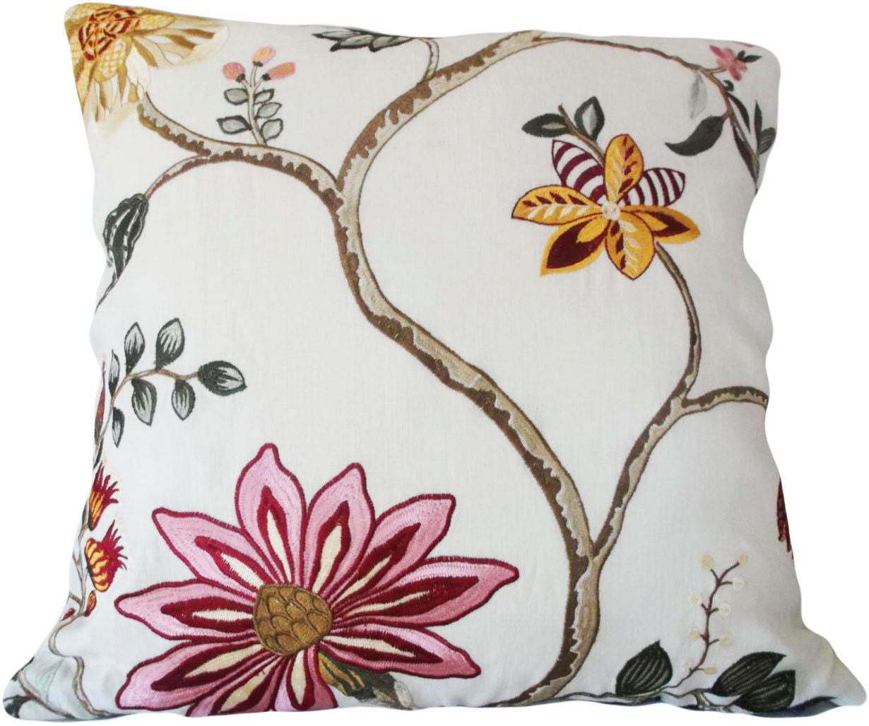 Floral Embroidered Decorative Pillow : Pink Gold Floral Embroidered Decorative Pillow Cover Throw