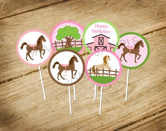 Pretty in Pink - Horse Themed Birthday Matching Cupcake Toppers