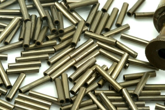 100 Pcs 10 x 2 mm (hole 1 mm ) antique brass tone copper tube industrial copper charms,pendant,findings spacer bead ttt02