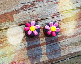 """7/16"""", 1/2"""", 9/16"""", or 5/8"""" -- Pink Ombre 3D Flower Plugs"""