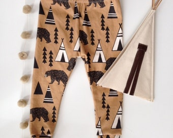 Back in Stock-Knit Baby Leggings-Bears and Teepees