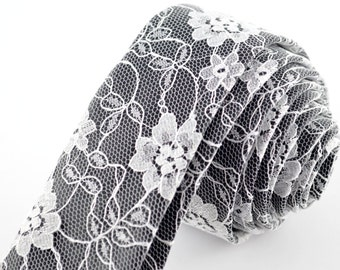 Black and White Necktie, Lace Skinny Tie, Monochrome Tie, Lace Wedding Tie, Black And White Tie, Groom's Tie, Groomsman's Tie, Lace Necktie