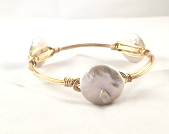 The Grady Bauble || Large Pearl Coin Bauble Bracelet
