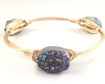 The Prism Bauble || Rainbow Druzy Oval Bauble Bracelet