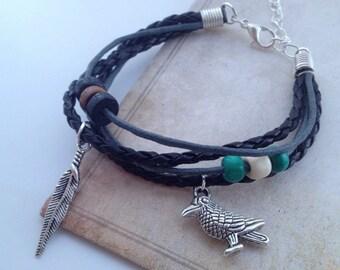 Viking bracelet Odin bracelet Raven Bracelet bohemian bracelet - Crow bracelet Native American - tribal bracelet - feather bracelet