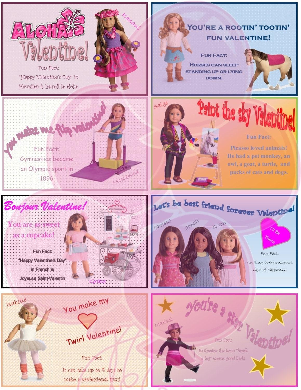 American Girl Valentine's Day Card Printable File jpeg