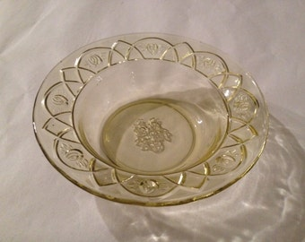 Antique Federal Glass ROSEMARY/ Dutch Rose pattern Amber Fruit Bowls