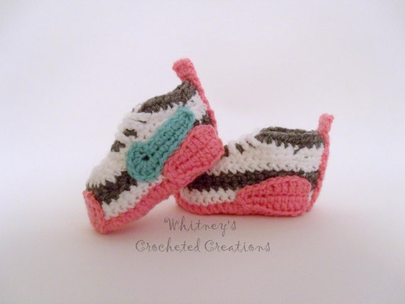 Crochet Baby Booties Nike Pattern : Nike Inspired tennis shoes Crochet pattern by ...
