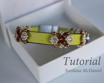 PDF tutorial beaded leather bracelet_Swarovski crystals_seed bead_beadweaving