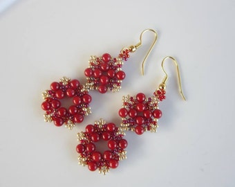 PDF tutorial red seed beads earrings pattern _ round beads_seed beads