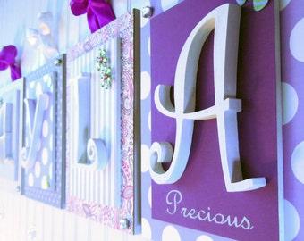 Nursery letters,Purple nursery letters, Purple and gray nursery,Personalized Wall Letters,Hanging Wall letters,Nursery Plaques, Girls Art