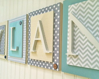 Nursery letters, Gray and Aqua Nursery Letters, Boys Wood Letters, Boys Nursery Letters, Chevron Letters, Hanging Wall Letters, Wood Letters